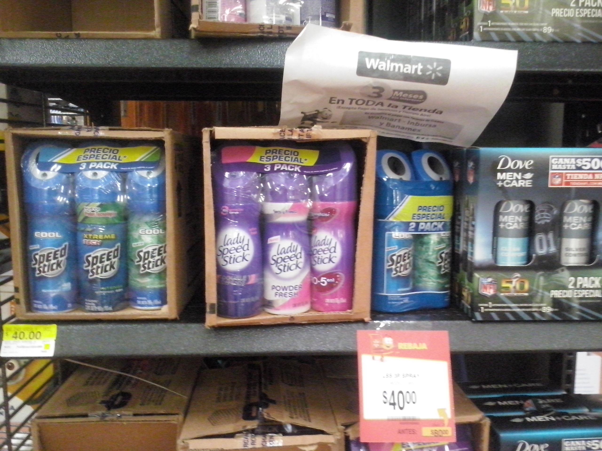 Walmart Universidad tripack desodorantes speed stick a $$40