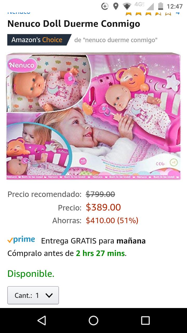 Amazon: muñeca Nenuco duerme conmigo