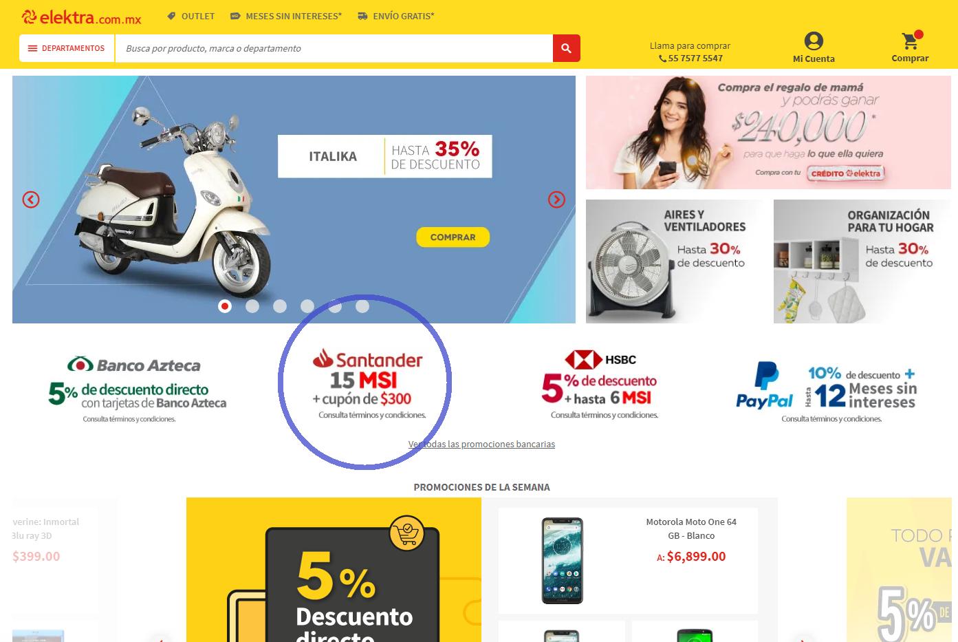 Elektra: 15 MSI con TDC Santander + Cupón de $300 MXN para siguiente compra