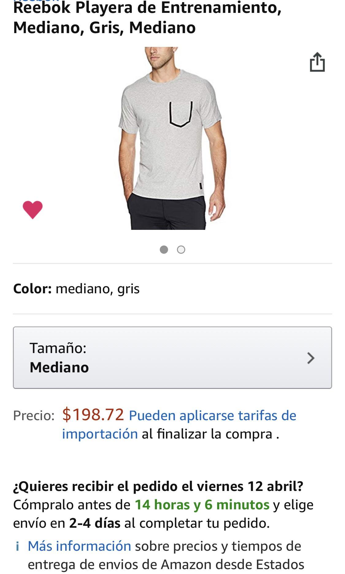 Amazon MX: Playera de entrenamiento Reebok gris, talla mediana