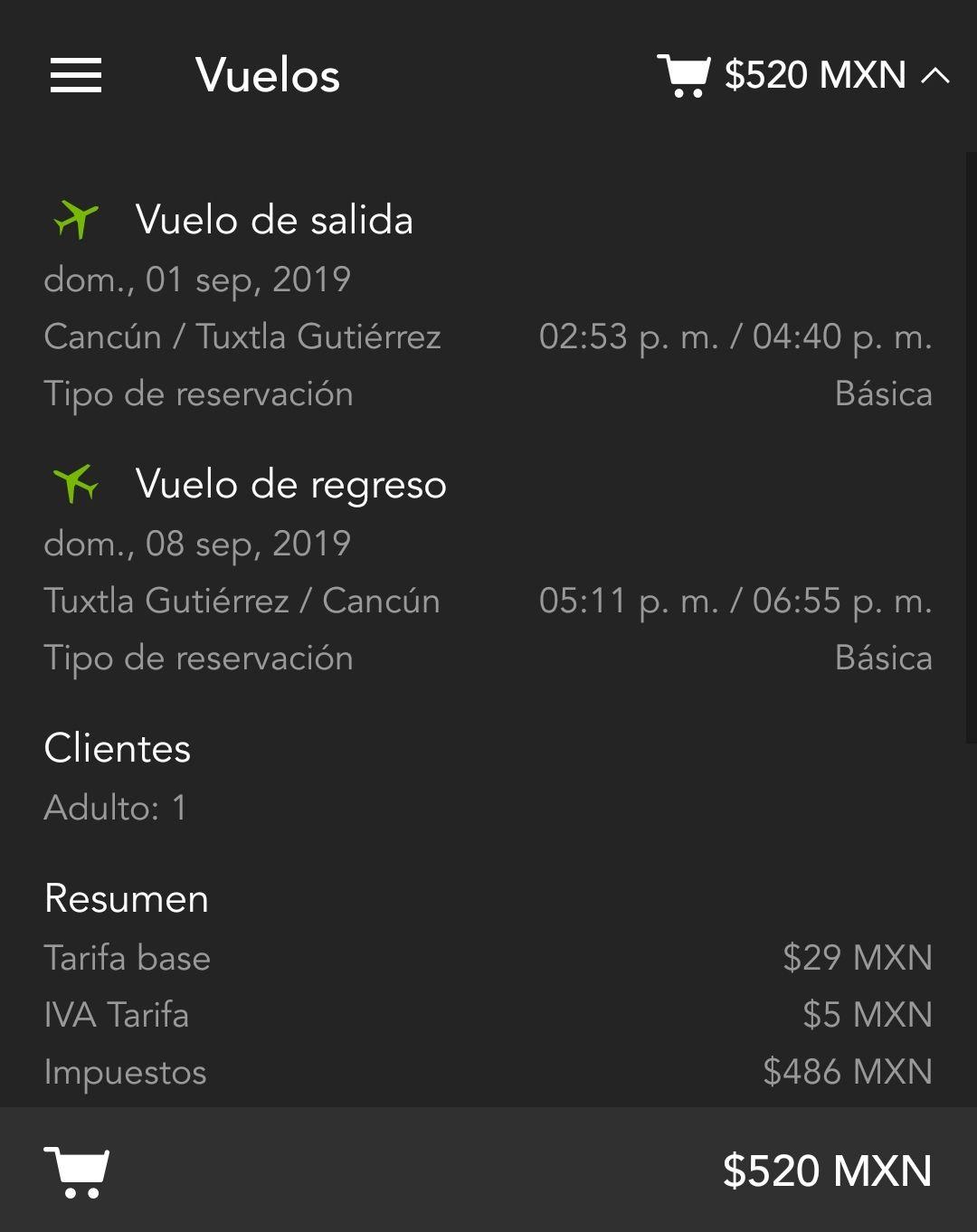 Volaris: Cancun-Tuxtla (520 pesos redondo)