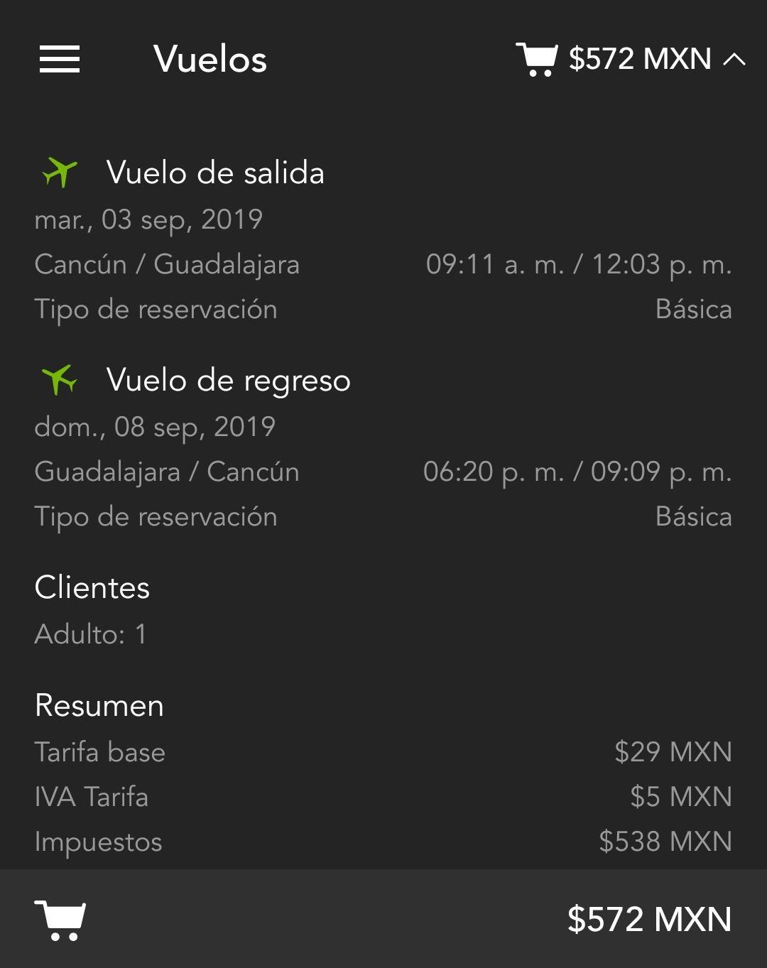 Volaris: Cancun-Guadalajara (572 pesos redondo)