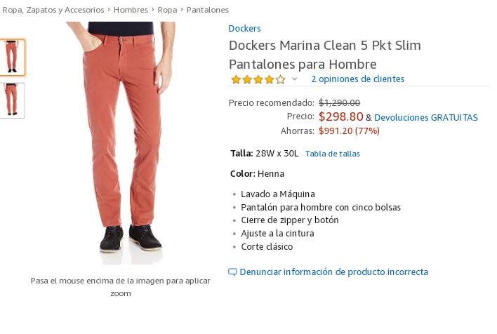 Amazon: Dockers Marina Clean 5 Pkt Slim Pantalones para Hombre