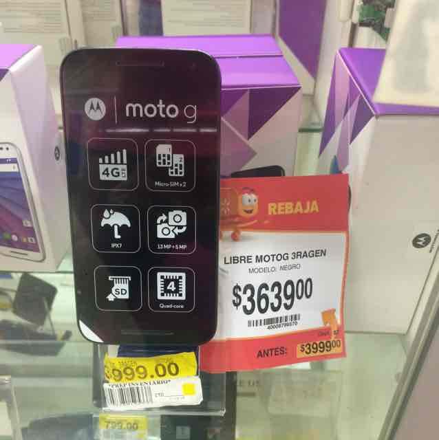 Walmart: celular Moto G (3ra. gen.) a $3,639
