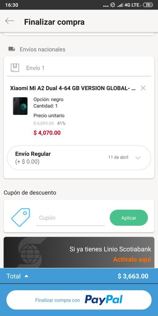 Linio: Xiaomi Mi A2 Dual 64 GB 4G RAM Versión Global (pagando con Paypal)