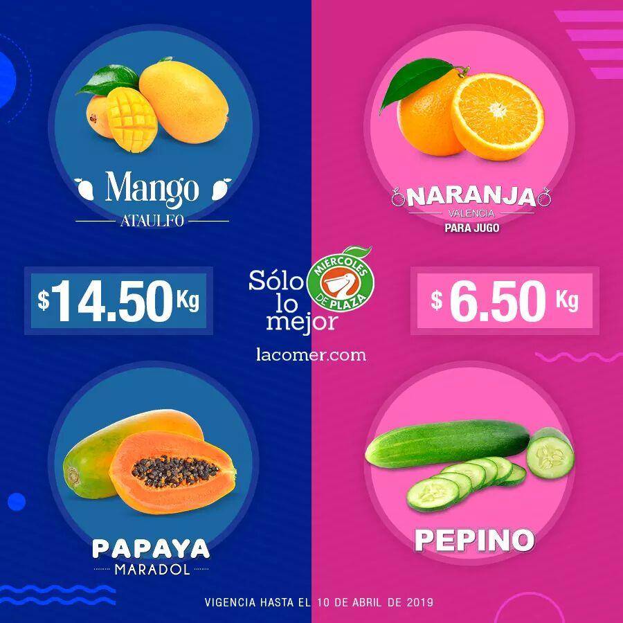 La Comer y Fresko: Miércoles de Plaza 10 Abril: Naranja ó Pepino $6.50 kg... Mango Ataulfo ó Papaya Maradol $14.50 kg.