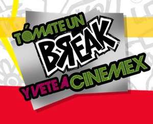 Cinemex: 2x1 con tapas de yoghurt Break