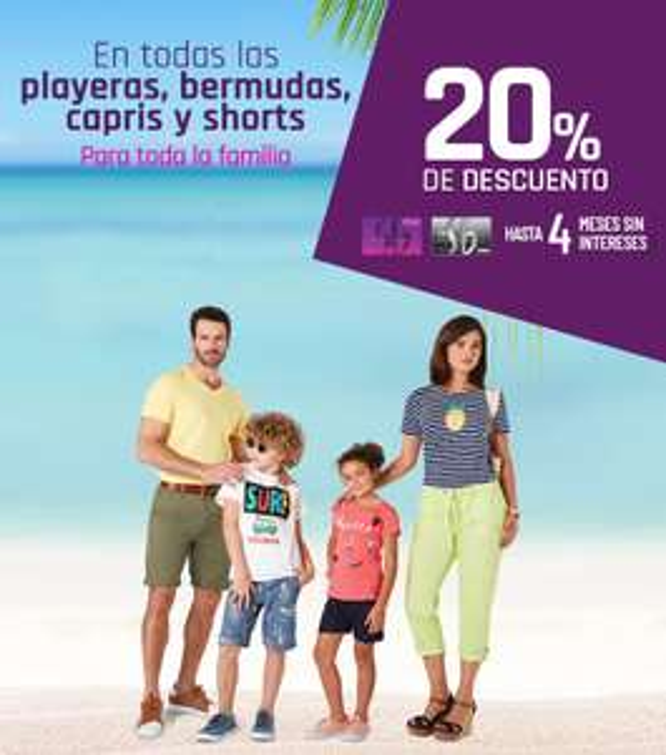 Suburbia: 20% de descuento en playeras, bermudas, capris y shorts para toda la familia + hasta 4 MSI