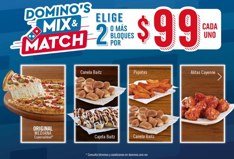 Domino's Pizza: 2 bloques o más por $99 c/u