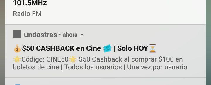 Undostres - $50 cashback en cine solo hoy