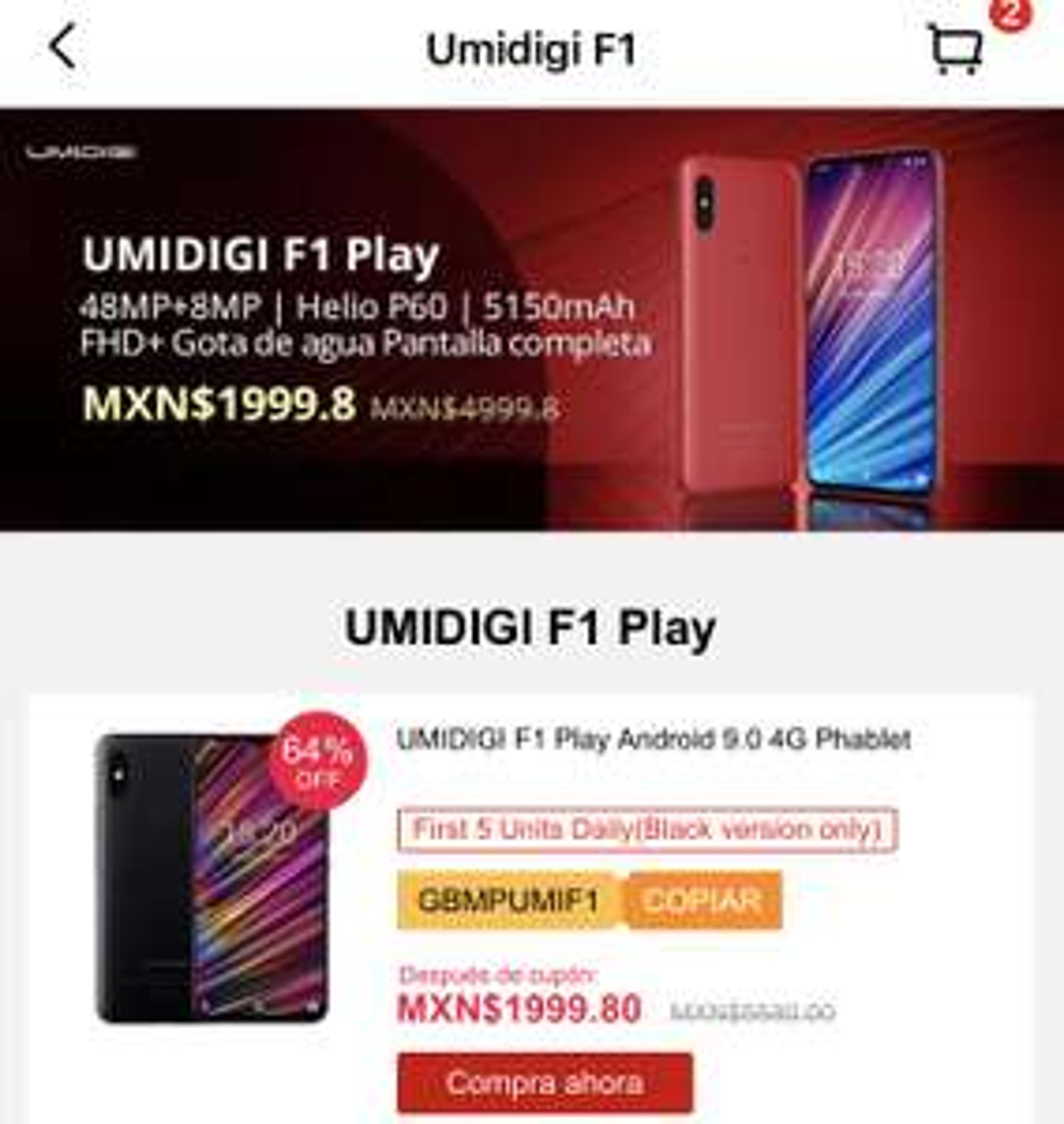 Gearbest. UMIDIGI F1 Play 6Gb + 64Gb