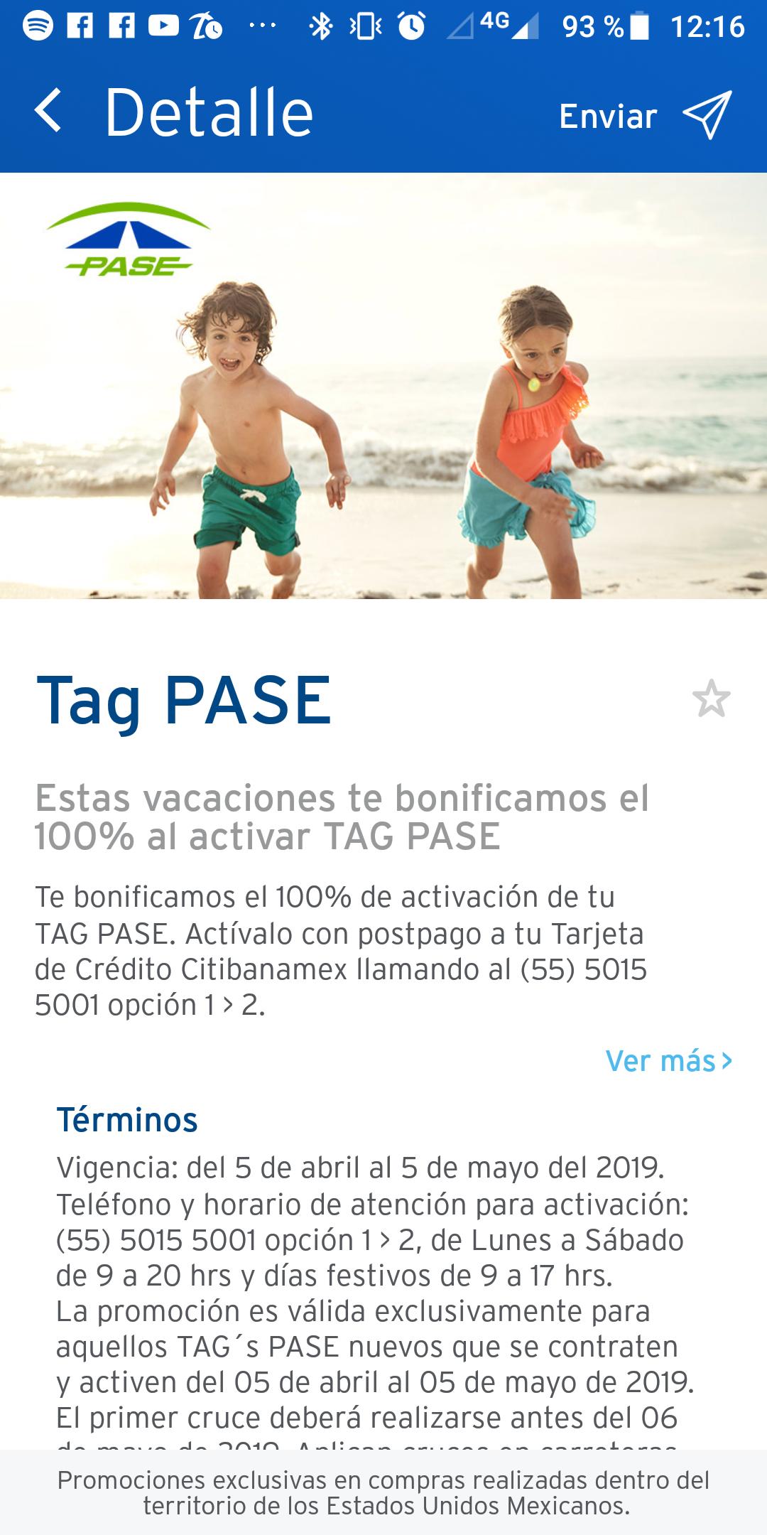 Banamex 100% bonificación Activación Tag PASE