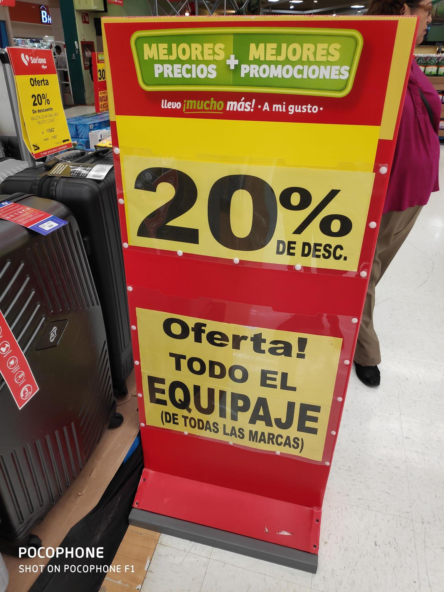 Soriana: Maletas de cualquier marca 20% descuento