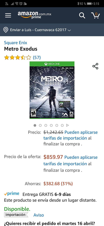 Amazon: Metro Exodus Xbox One