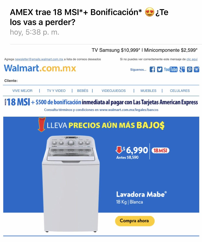 Walmart: 18 MSI + 500 de Bonificación pagando con American Express (del 11 al 15 de Abril)