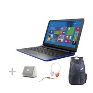 """Linio: Notebook HP 15-ab040la AMD A10 Win 8.1 RAM 12GB DD 1TB 1 5.6""""+ Back Pack Charger+ Bocina+ Headset"""