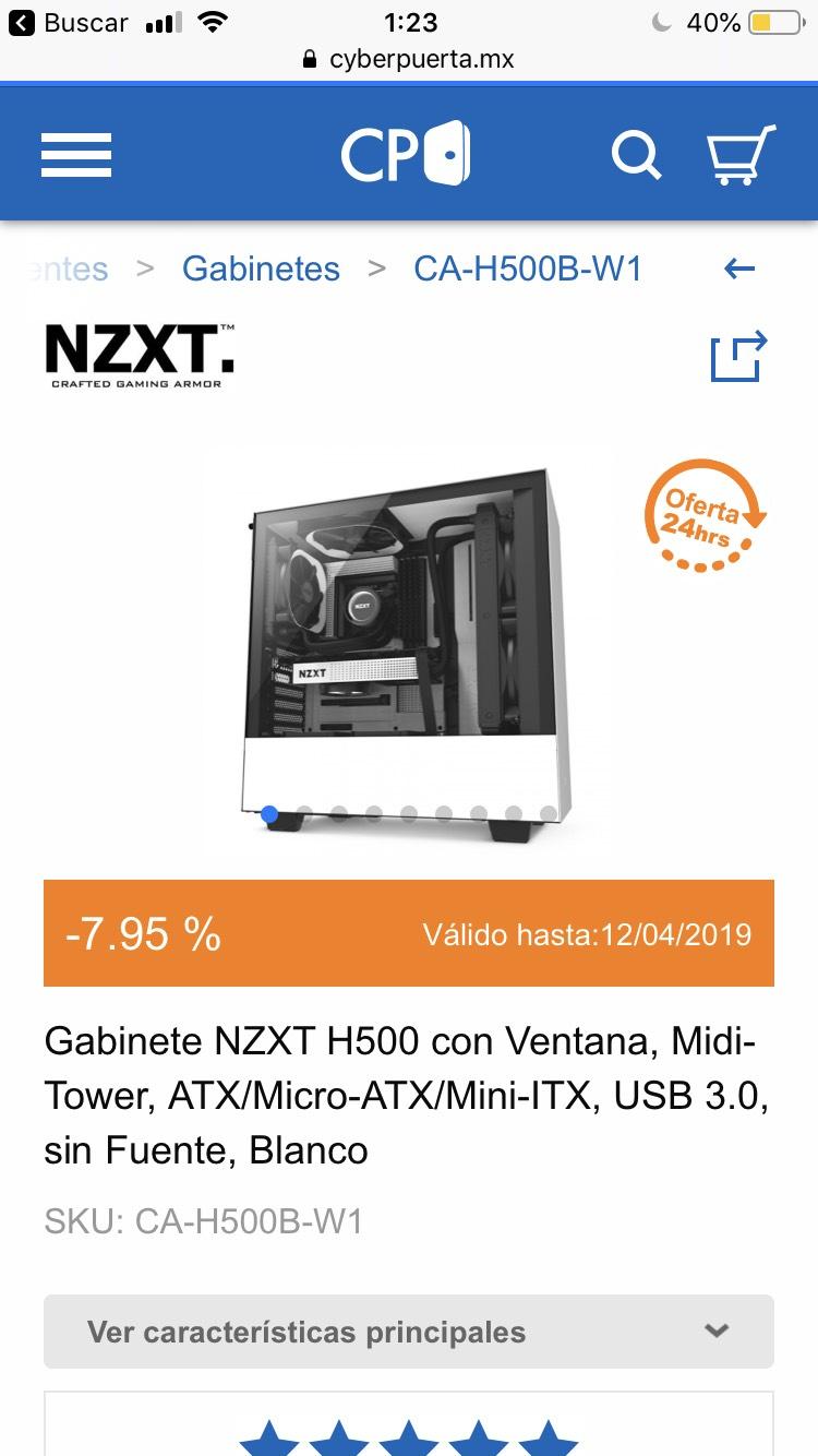 Cyberpuerta: Gabinete NZXT - H500 Blanco - CyberPuerta
