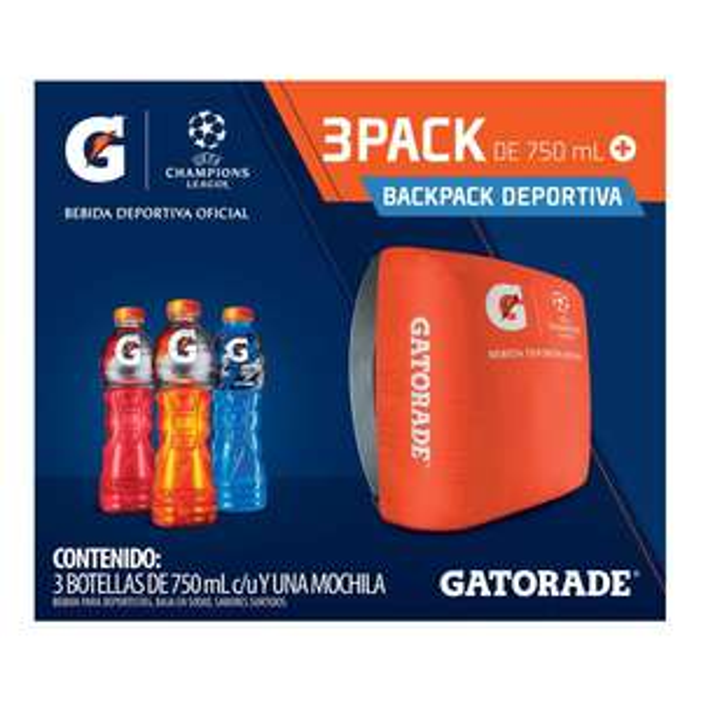 Superama: 3 Gatorades 750ml + backpack Champions League