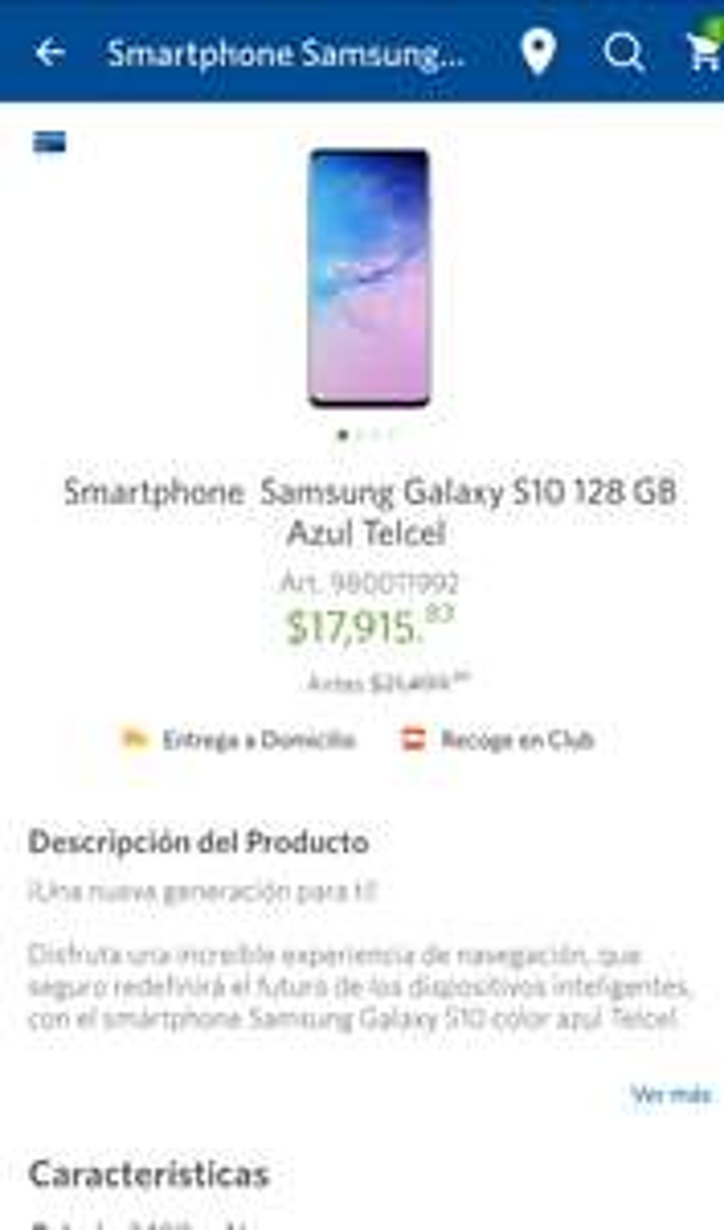 Sams: Samsung S10 128Gb Azul Telcel