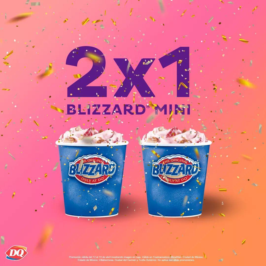 Dairy Queen: 2x1 Blizzard Mini el 12 al 14 de abril Por el Día Internacional del Helado