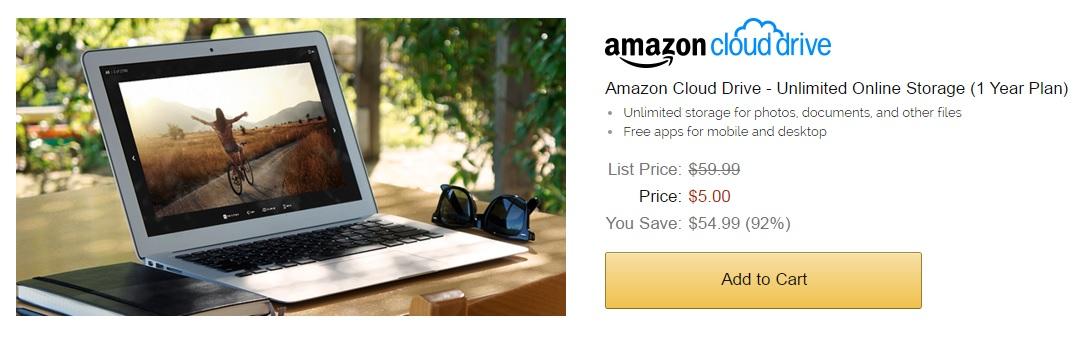 $5 dlls en vez de $59.99 por un año de Amazon Cloud Drive
