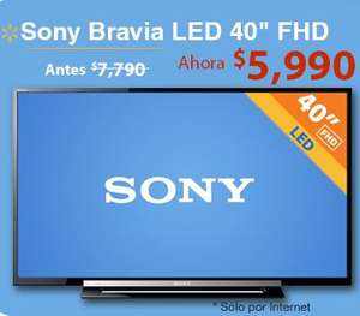 """Walmart: pantalla Sony LED 40"""" $5,990 y 18 meses sin intereses"""