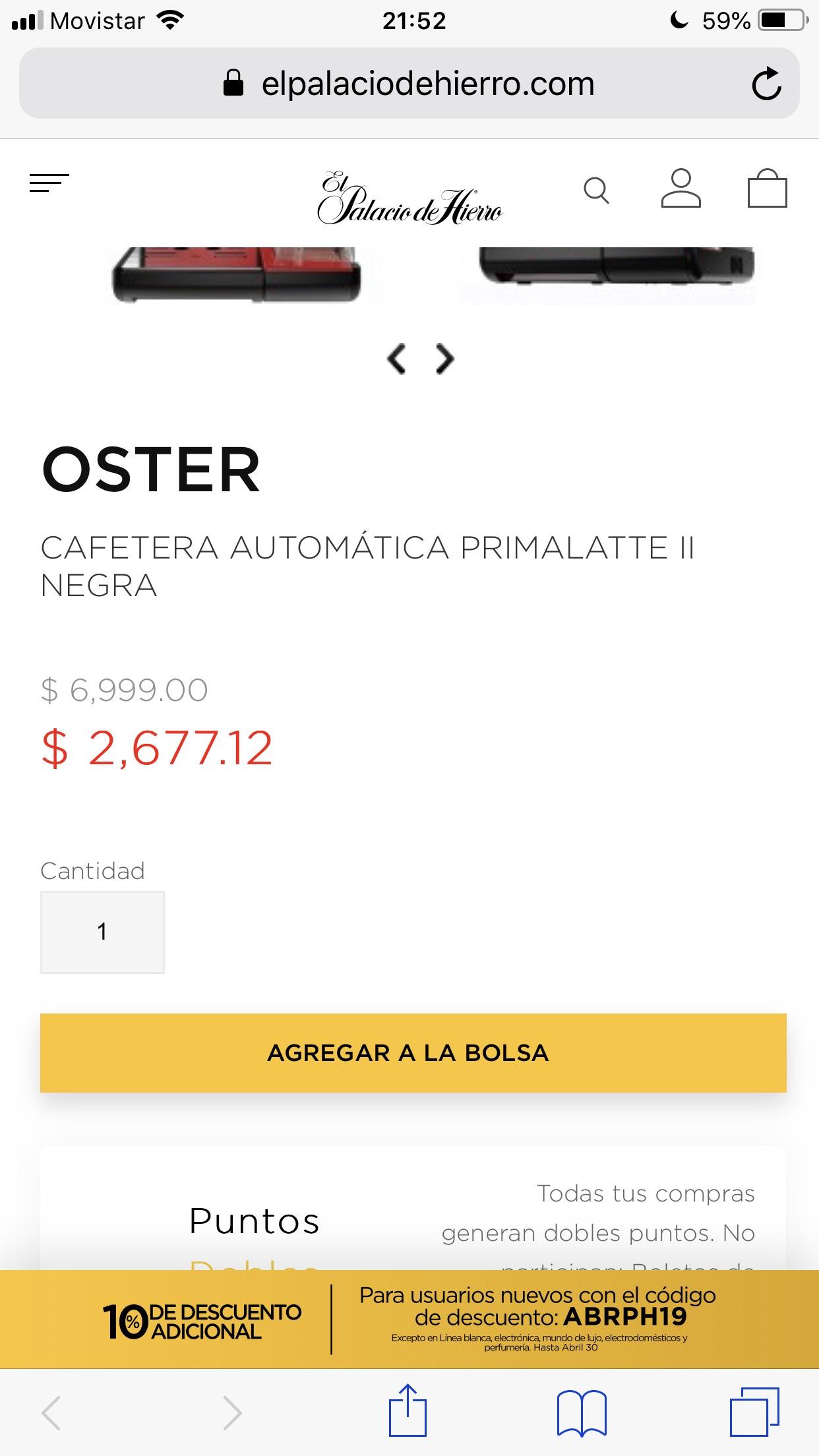 El Palacio de Hierro en línea: Cafetera automática Oster PrimaLatte II  19bares