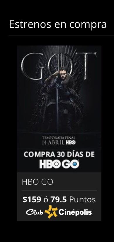 Cinépolis Klic: Un mes de HBO Go con puntos Cinépolis por 79.50