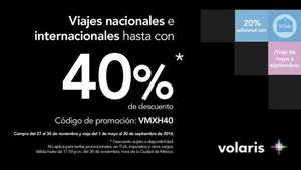 Volaris Black Friday: 40% de descuento viajando de mayo a septiembre 2016