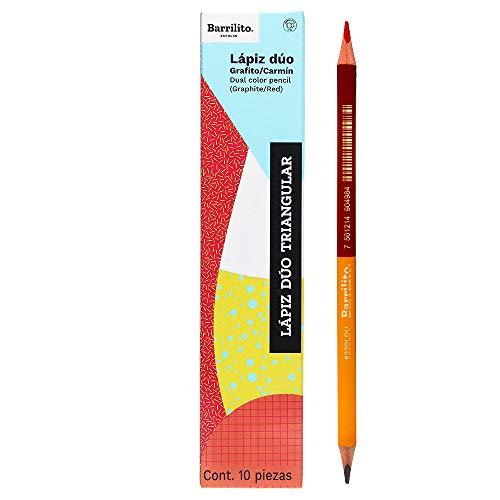 Amazon: 10 lápices duo o bicolor: rojo y grafito. Barrilito. Amazon