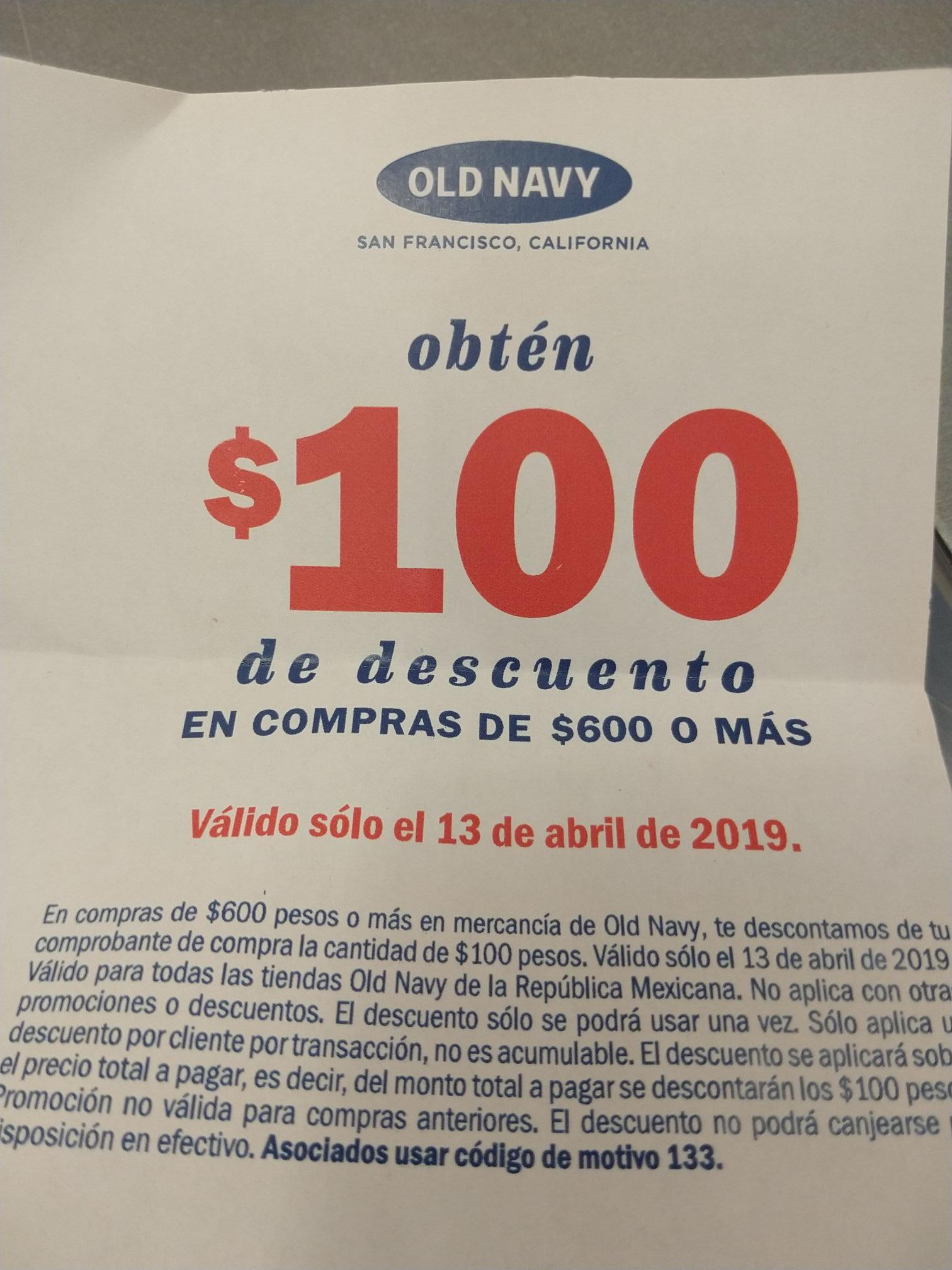 Old Navy: 100 de descuento