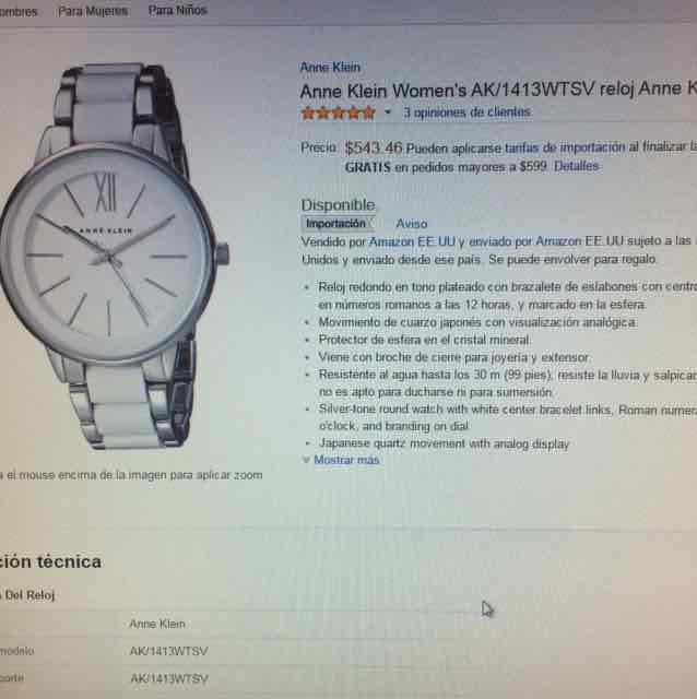 Amazon: reloj anne klein mujer $544