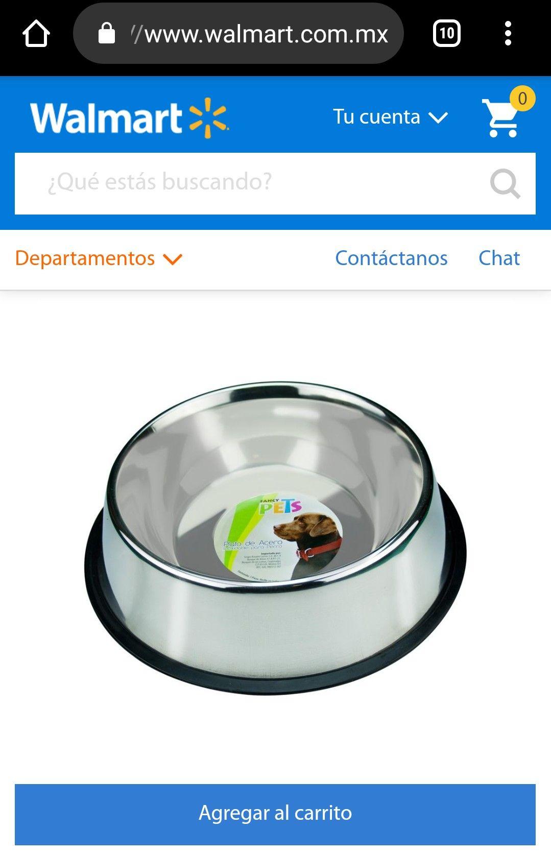 Walmart en línea: Plato para Perro de Acero Inoxidable de 96 onzas (extra grande) con Envío Gratis