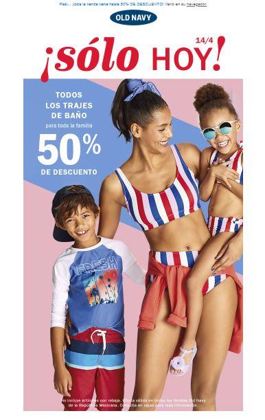 Old Navy: Descuentos del 50% en trajes de baño para toda la familia