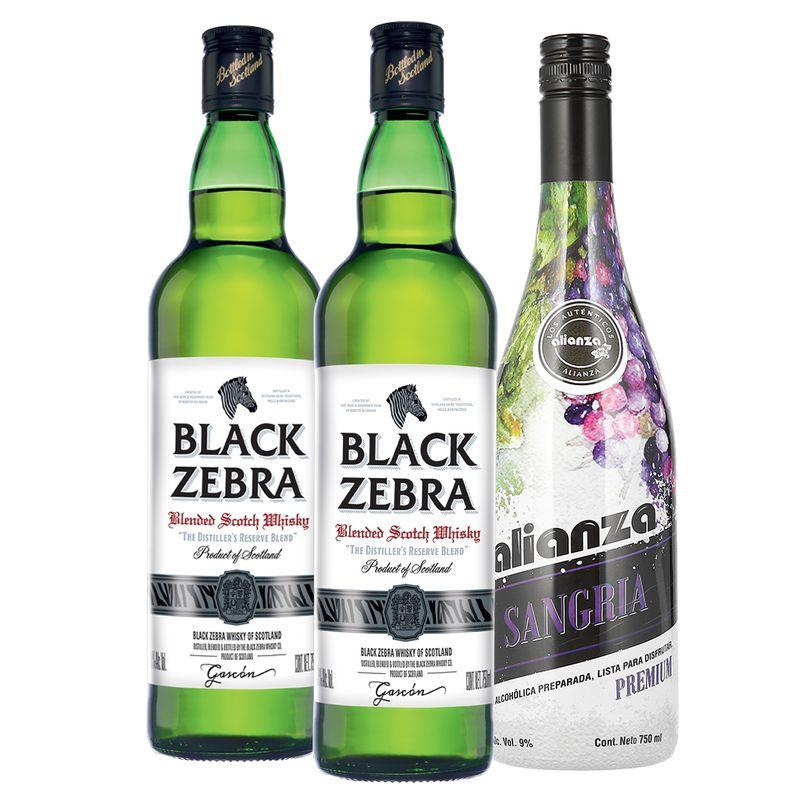 Bodegas Alianza: Whisky Black Zebra 2Bt 750ml C/Sangria Alianza 750ml