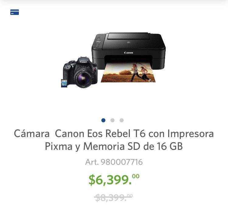 Sam's Club: Cámara Canon Eos Rebel t6 + impresora