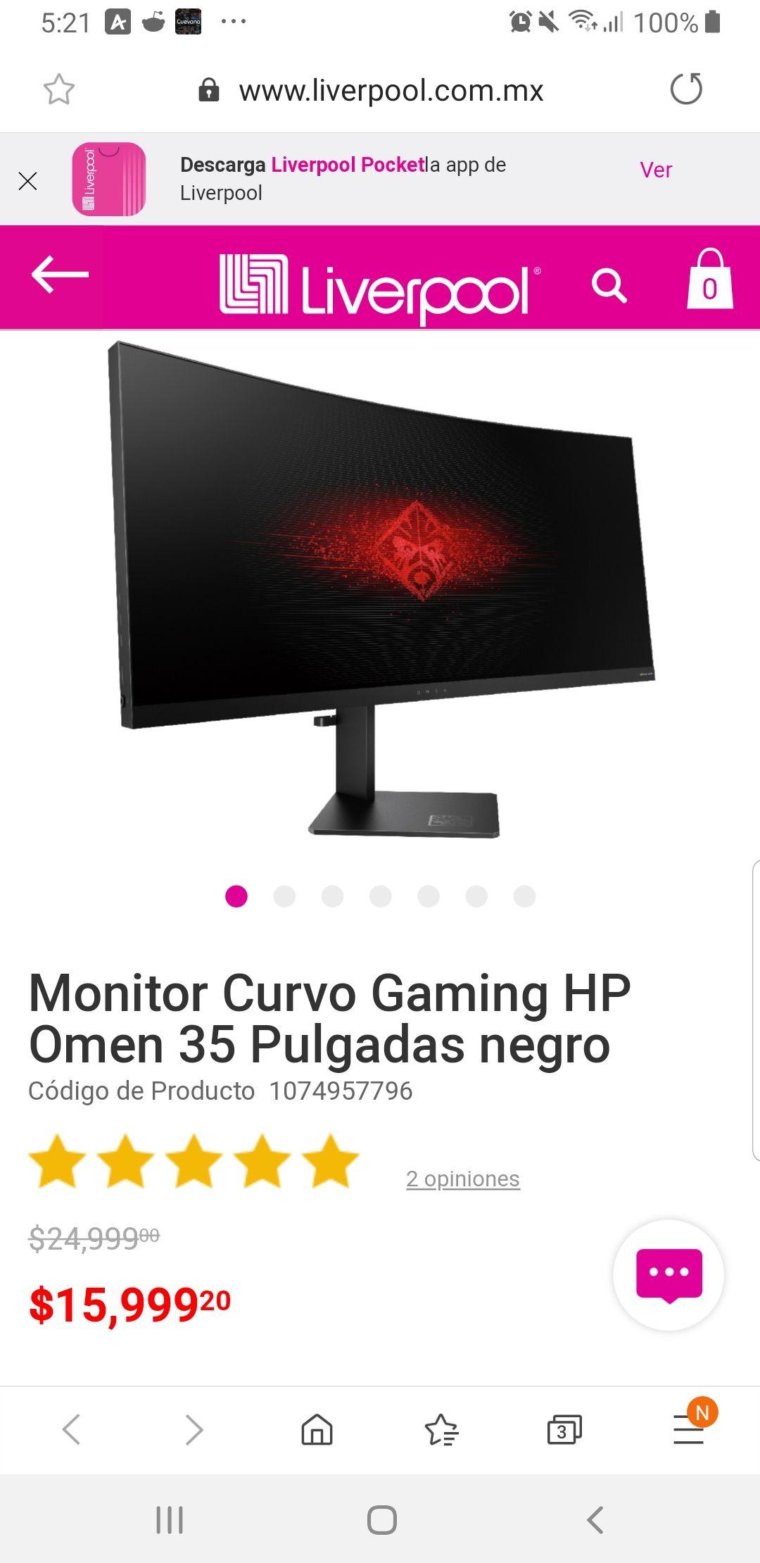 Liverpool en línea: Monitor Curvo Gaming HP Omen 35 Pulgadas negro