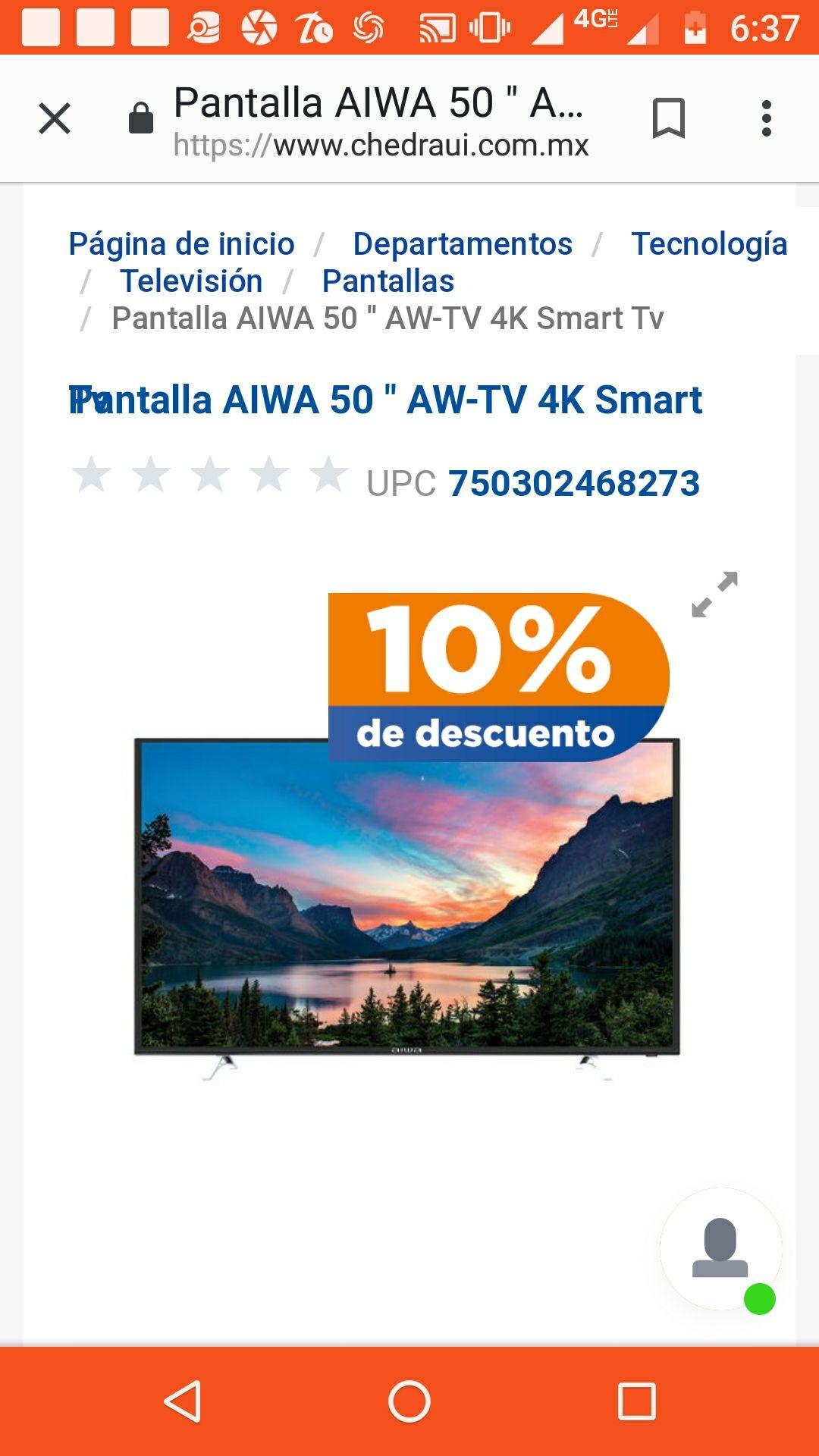 "Chedraui en línea: Smart TV AIWA 50""4K UHD"