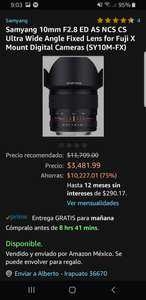 Amazon MX: Samyang 10 mm 2.8 para Fujifilm X mount