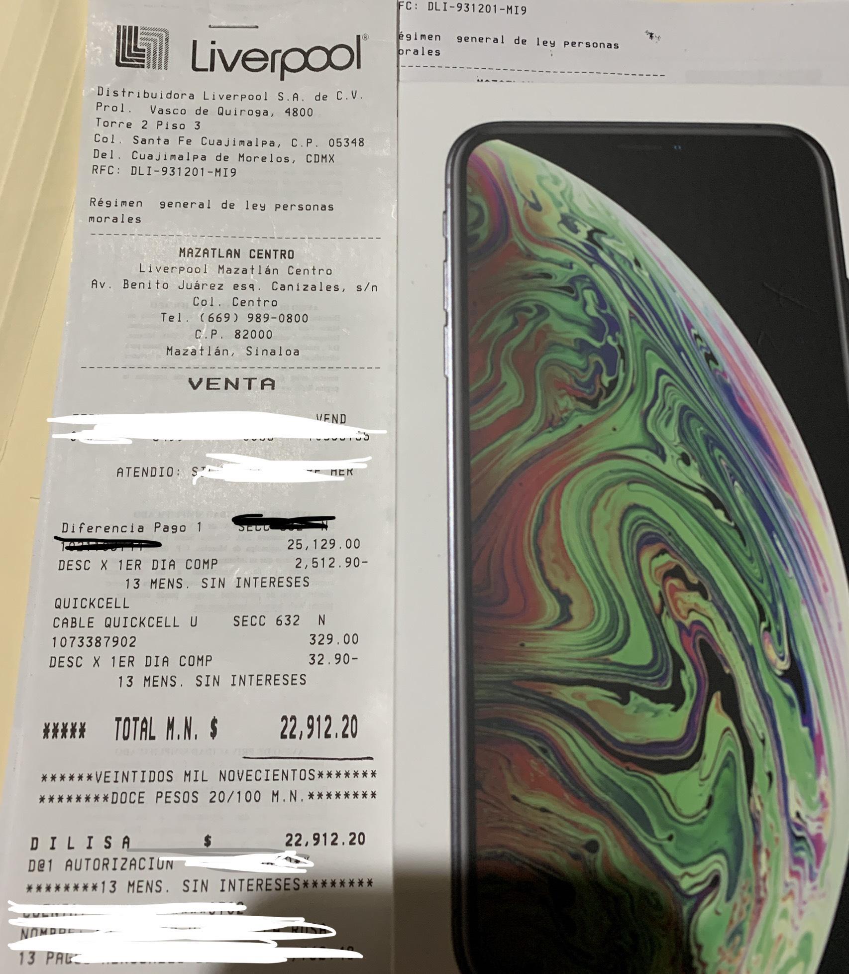 Liverpool: Iphone xs max 256gb contratando plan Max sin límite 6000 ($22615 con descuento de primera compra)