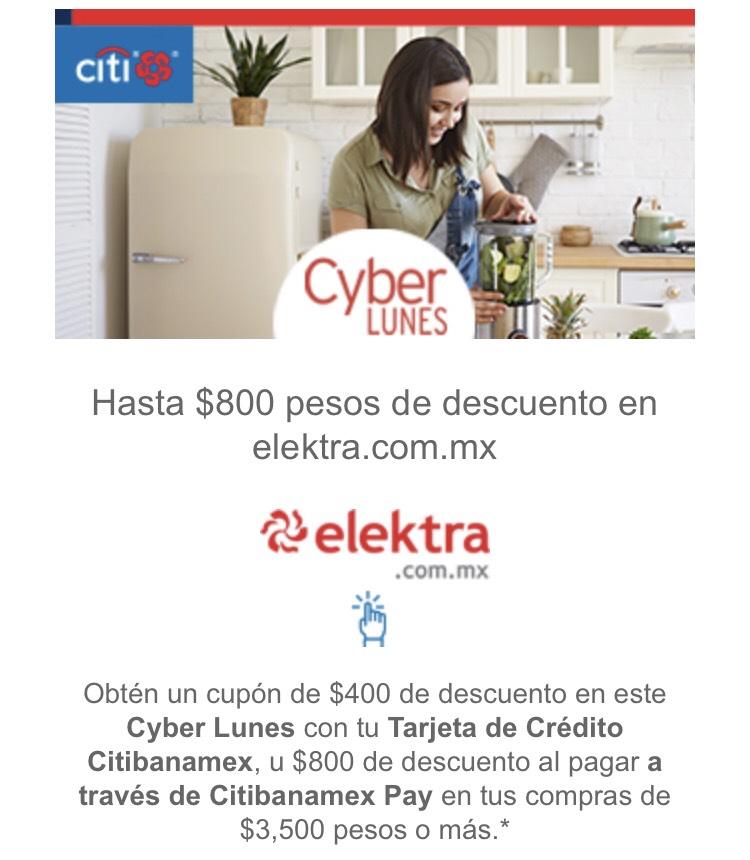 Elektra: hasta $800 de descuento en siguiente compra pagando con Citi Pay. Compra mínima $3500