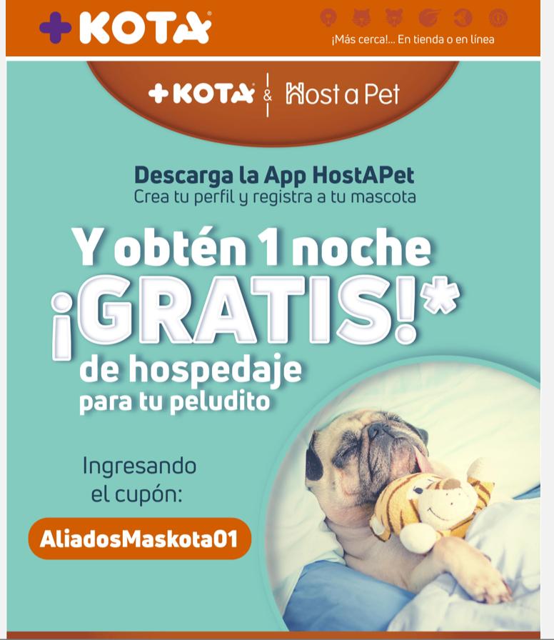 +KOTA & HOST A PET OBTEN 1 NOCHE GRATIS