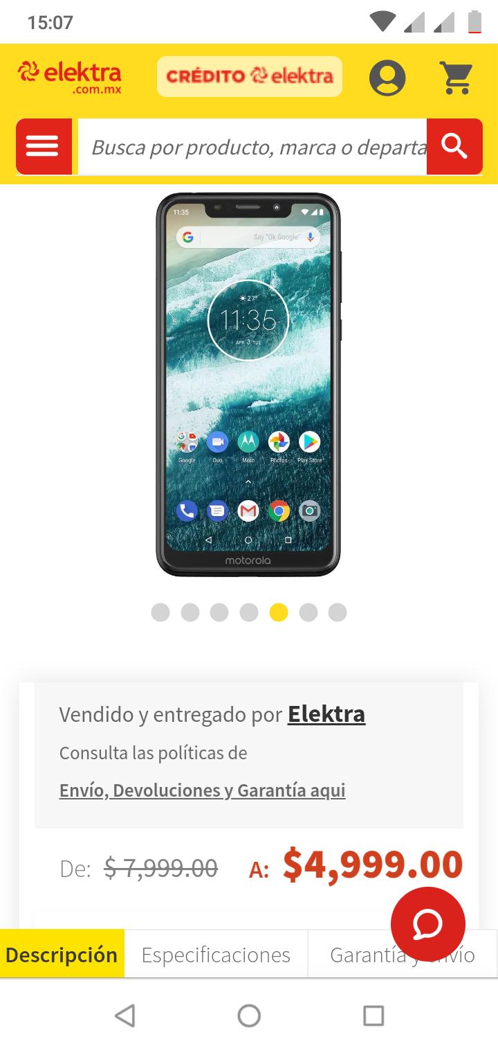 Elektra: Motorola One (+ Cupón de $800 pagando con Citipay)
