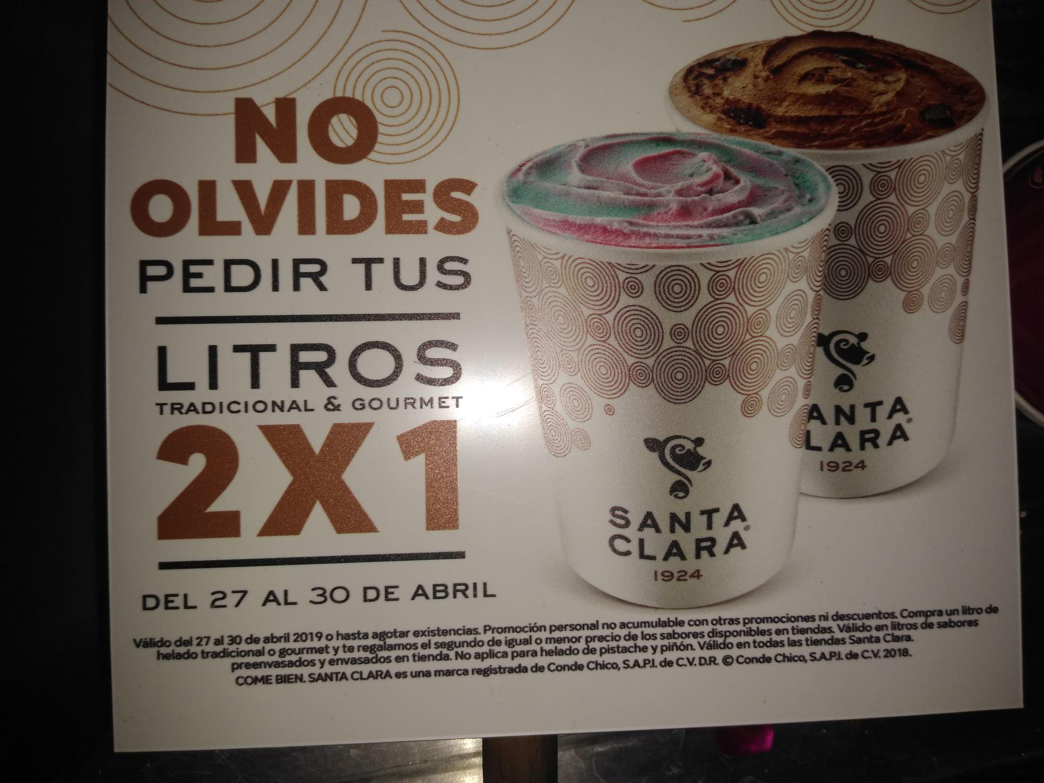 Santa Clara: Litros de helado al 2x1