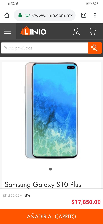 Linio App: Samsung Galaxy S10 Plus (8Gb RAM y Single Sim) + MicroSD de 128GB