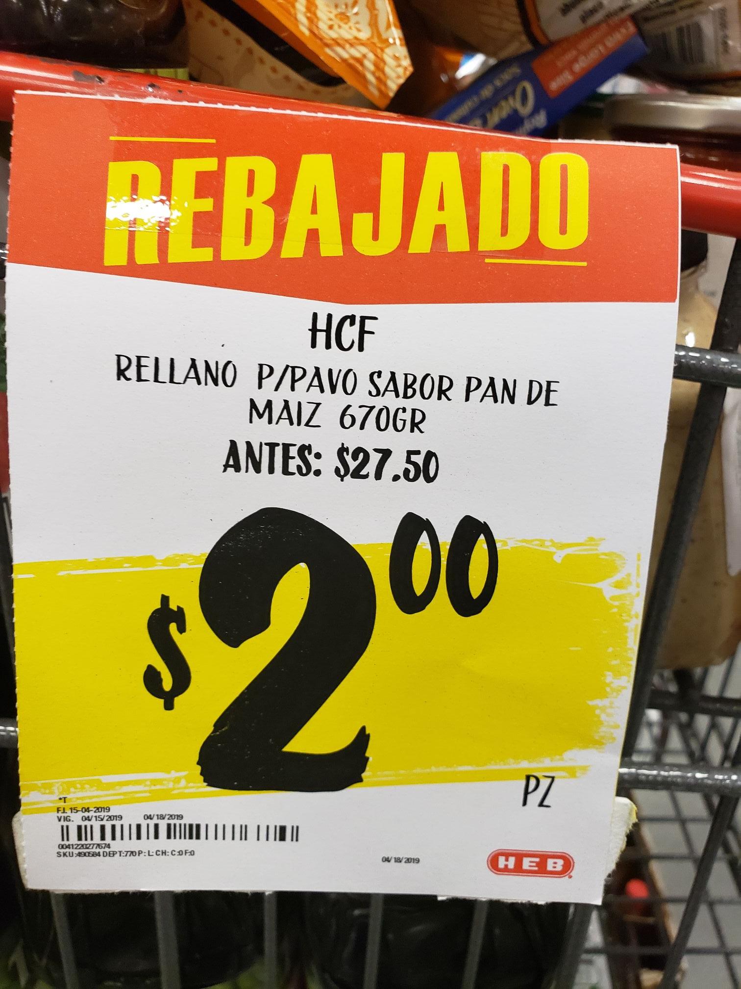HEB Hidalgo Tampico: Relleno para pavo sabor pan de maíz