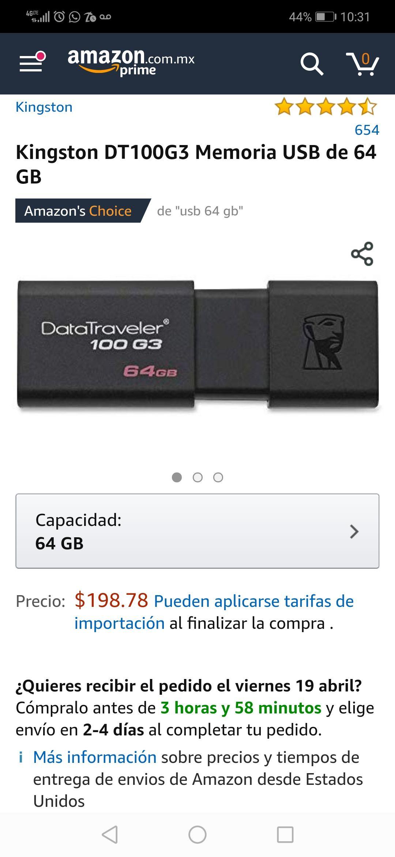 Amazon: Memoria USB Kingston 64 GIGAS 3.0