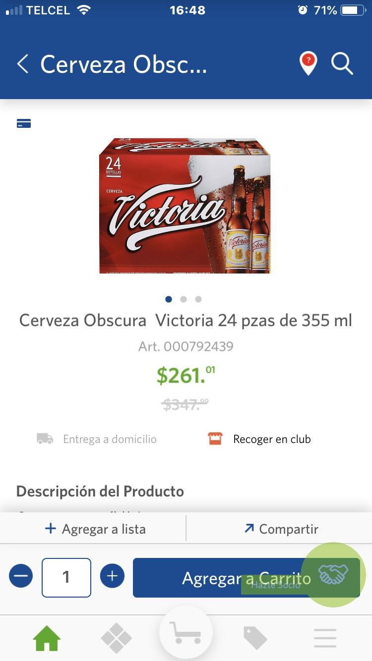 Sam's Club: 24 Cervezas Victoria 355ml a $10.90 c/u