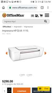 Officemax: Impresora HP DJ IA 1115 $298