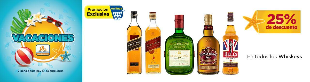 Chedraui en Línea: 25% de descuento en todos los Whiskys  + Envío Gratis